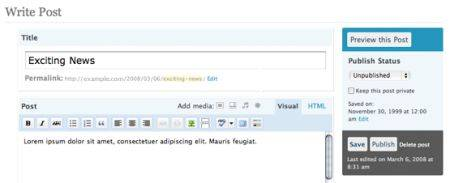 Wordpress 2.5 панель публикации
