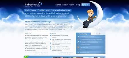 Indiqo.eu - персональный сайт немецкого вебдизайнера Максимилиана Бартеля