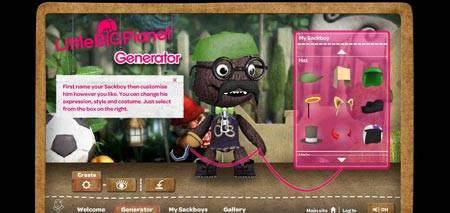 Mysackboy.littlebigplanet.com - flash генератор забавного персонажа