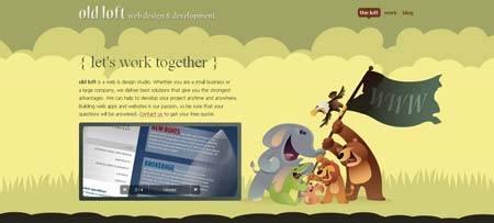Oldloft.com - оригинальное оформление сайта студии веб-дизайна со зверями