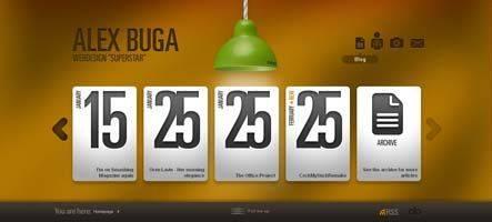 Alexbuga.com - сайт румынского вебдизайнера Алекса Буги, все сделано стильно и со вкусом
