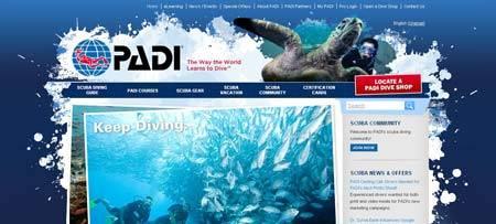 Padi.com - красивый сайт профессиональных дайверов
