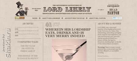 Lordlikely.com - люблю сайты с таким дизайном в виде старой газеты, смотрится замечательно
