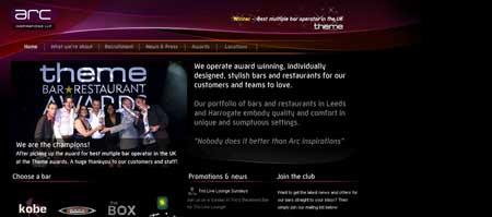 Arcinspirations.com -сайт сети английских баров и ресторанов с индивидуальным дизайном