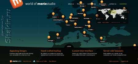 Worldofmerix.com - у этого сайта веб-дизайн студии очень оригинальная главная страница