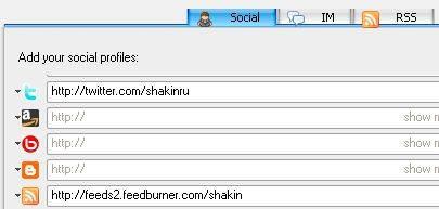 В нижней части окна можно указать ссылки на свои профили в различных сервисах