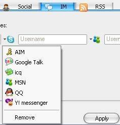 вкладка IM (Instant Messengers)