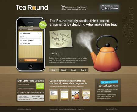 Tearoundapp.com - простой и красивый сайт приложения для iPhone и iPod touch
