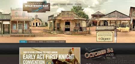 Boernewildwestday.com - оригинальный дизайн сайта регулярно проводимого мероприятия для любителей ковбойских времен