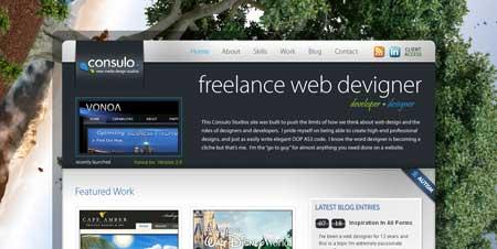 Consulostudios.com - эффектный дизайн сайта фрилансера Джереми Консуло