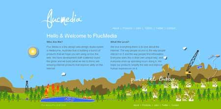Flucmedia.com - какая же подборка красивых сайтов на shakin.ru обойдется без ярких и жизнерадостных примеров