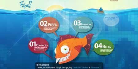 Piipeonline.com - замечательный и оригинальный сайт веб-дизайнера Фелипе Барриги, который живет в Колумбии