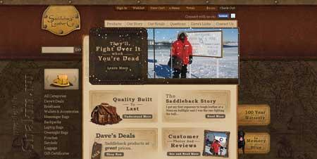 Saddlebackleather.com - стильный сайт компании по продаже изделий из кожи