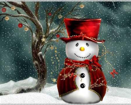 Веселый снеговик в парадном плаще и цилиндре
