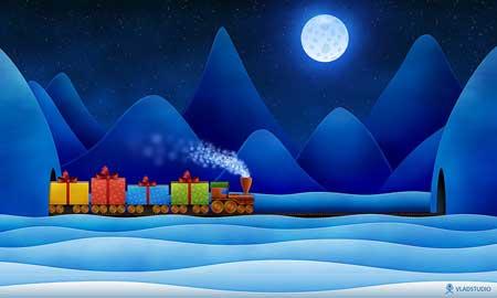 рождественский поезд обои