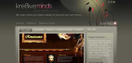 Kre8iveminds.com - пример индийского взгляда на современный веб-дизайн