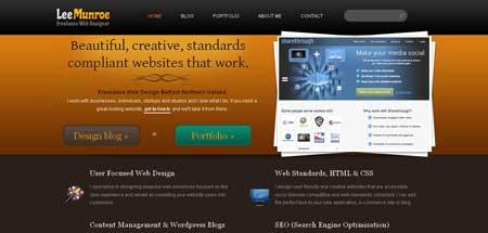 Leemunroe.com - эффектный дизайн сайта фрилансера Ли Монро из города Белфаст, Северная Ирландия