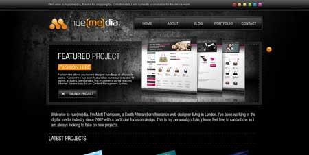 Nue-media.com - красивый сайт 24-летнего фрилансера Мэтта Томпсона