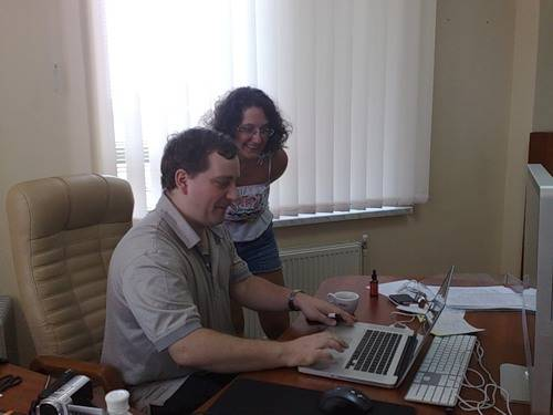 Елизавета Трибунская с Сергеем Петренко, основателем SearchEngines.ru и директором Яндекс.Украина в Одесском офисе Яндекса