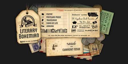 Literarybohemian.com - у этого сайта поэтов и писателей очень интересный ретро дизайн