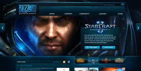 Blizzard.com - красивый сайт известной компании Blizzard Entertainment