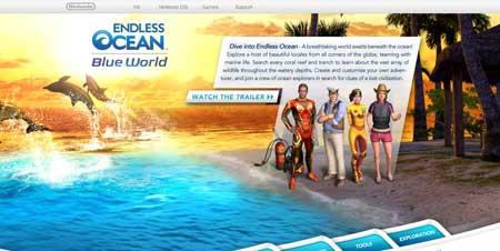 Endlessocean.com - сайт игры Endless Ocean для Nintendo Wii