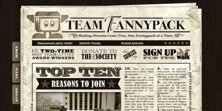 Teamfannypack.com - редко встретишь газетный веб-дизайн