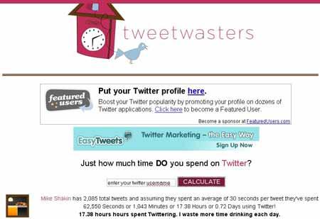 Tweetwasters.com  - забавный сервис Twitter статистики