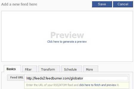 Facebook Feed URL - RSS ленты