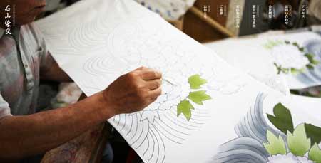 Ishiyamasenko.co.jp - красивый сайт японской компании, занимающейся национальной росписью по ткани