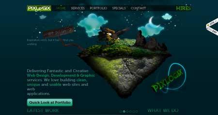 Pixlogix.com - красочный сайт веб-дизайн студии из города Гуджарат, Индия