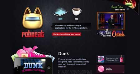 Robocatapps.com - креативный сайт команды разработчиков, которые создают приложения для iPhone