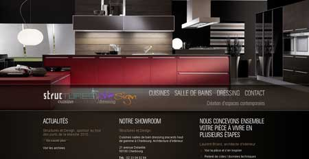 Structuresetdesign.fr - стильный сайт французской компании, которая занимается дизайном кухонь и шкафов