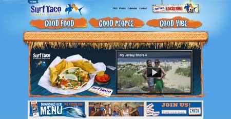 Surftaco.com - классный дизайн сайта ресторана в курортном городке Джексон, что в штате Нью Джерси