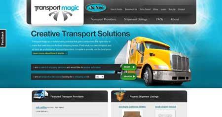 Transportmagic.com - красивый дизайн сайта по грузоперевозкам из города Орландо