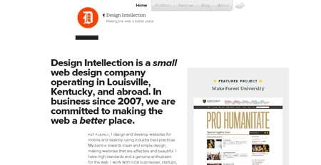 Designintellection - простой сайт с удобной навигацией веб-дизайн студии