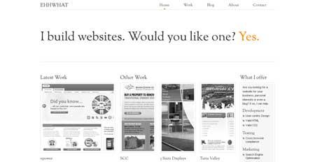Ehhwhat.co.uk - портфолио английского веб-дизайнера Бена Кенни