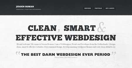 Jeroenhoman.com - стиль минимализма в веб-дизайне популярен и в Голландии