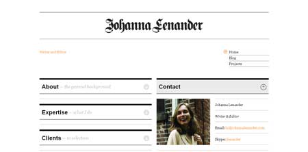Johannalenander - это сайт шведки Джоанны Ленандер