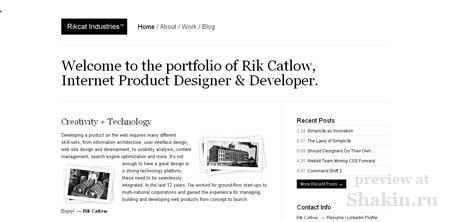 Rikcatindustries - минималистичный сайт дизайнера Рика Катлоу