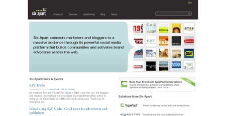 Компания Six Apart выбрала для своего сайта минималистичный дизайн