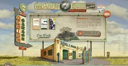 Level2d - ретро сайт американской веб-дизайн студии из штата Теннесси