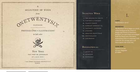 Onetwentysix.com - стильный ретро дизайн сайта американской студии из Лонг Айленда