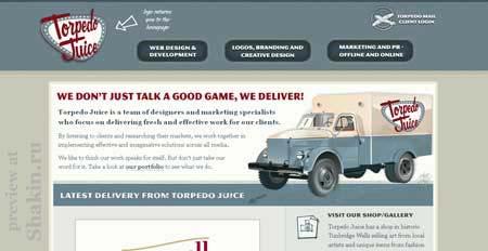 Torpedojuice.co.uk - стильный ретро дизайн сайта