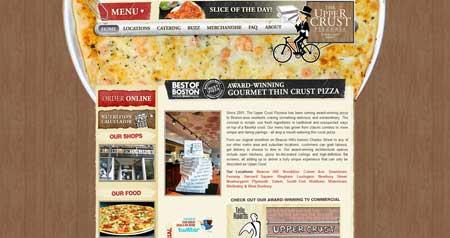 Theuppercrustpizzeria - красочный дизайн сайта сети пиццерий из Бостона
