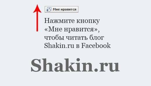 страница блога shakin.ru в Facebook