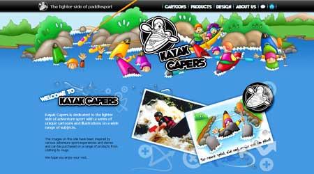 """Kayakcapers.co.uk - """"мультяшный"""" стиль в оформлении дизайна сайта"""
