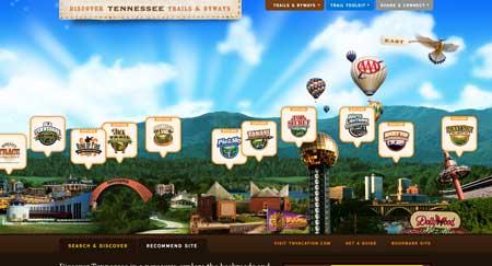 вебсайт посвящен туризму в штате Теннесси
