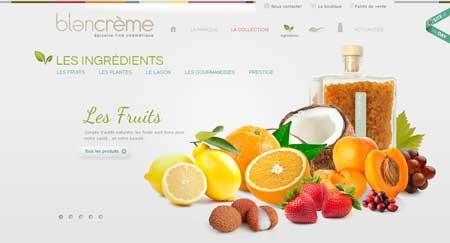 Blancreme.com - красивый дизайн сайта французской косметологической компании