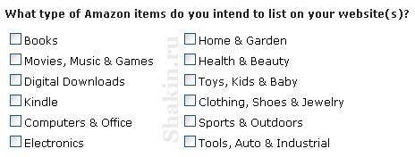 Партнерская программа Amazon.com указываем тематики товаров